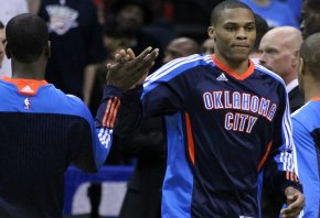 Russell Westbrook goes through pre-game introductions