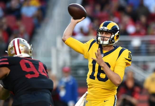 Jared Goff of the Los Angeles Rams throwing the ball