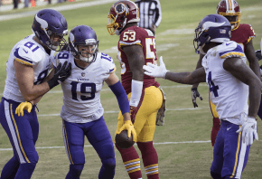 Vikings receivers celebrating a TD.