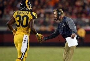 LA Rams running back Todd Gurley high-fiving coach Sean McVay.
