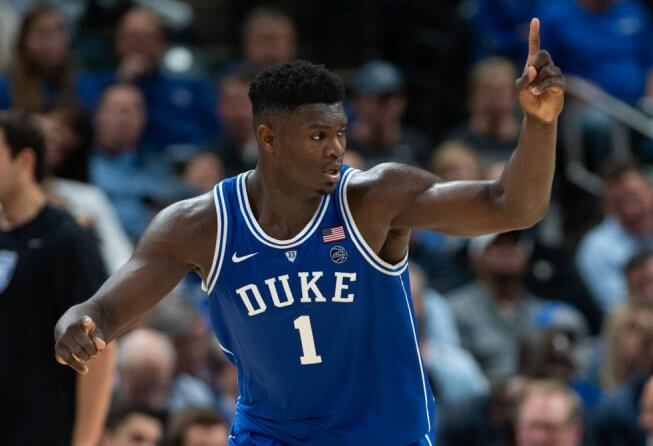 Zion Williamson celebrating at Duke.