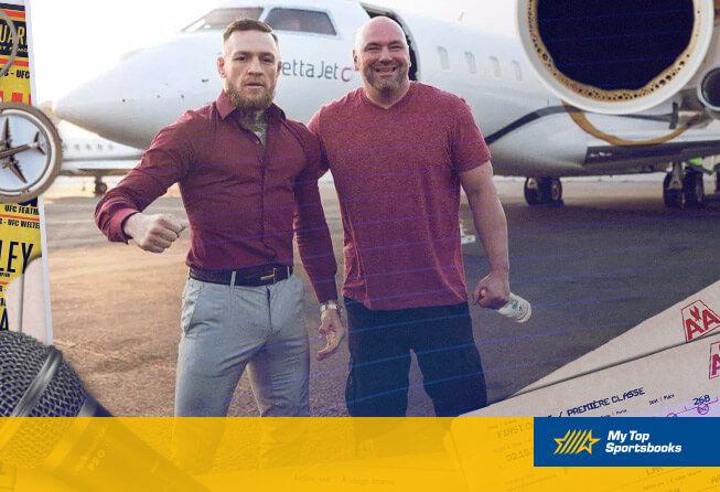 ufc fighter conor mcgregor dana white in front of an airplane