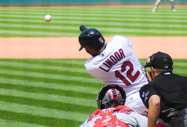 Francisco Lindor lines a ball for the Cleveland Indians