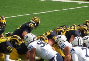 Michigan Wolverines at the line of scrimmage