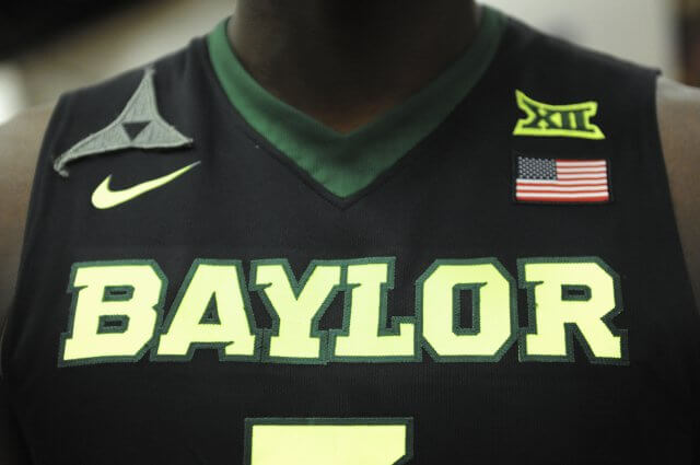 Close-up of a Baylor basketball jersey