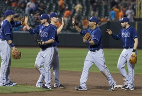 Tampa Bay Rays celebrating a win