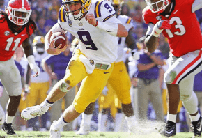 LSU QB Joe Burrow escaping would-be tacklers
