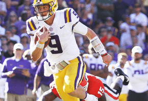 Joe Burrow running the ball for the LSU Tigers