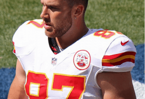 Travis Kelce on the field with Kansas City