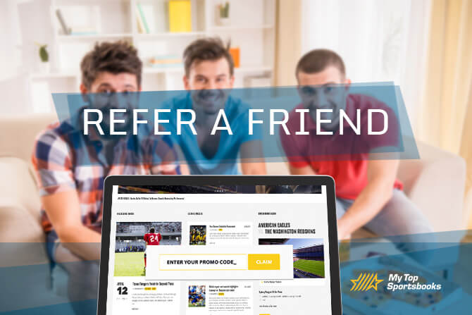 refer a friend text overlay with three men smiling behind a computer screen