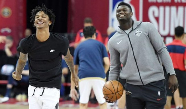Zion Williamson and Ja Morant warming up together