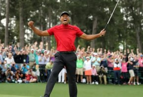 Tiger Woods celebrating