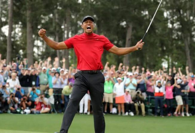 Tiger Woods celebrating